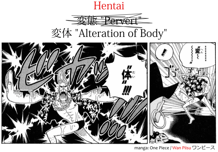 "Franky from manga One Piece saying hentai 変体 ""transformation"" in Japanese"