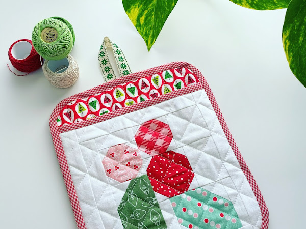 Holly Berry Quilted Potholder