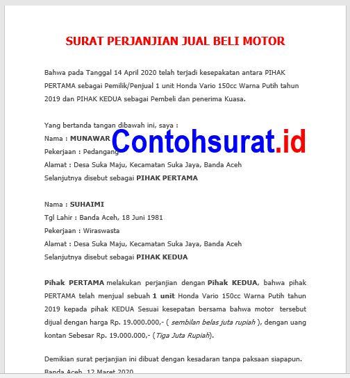 Surat Perjanjian Jual Beli Sepeda Motor