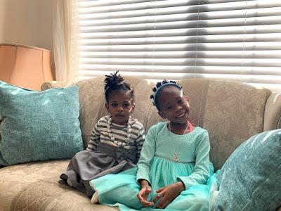 Little girls in church dresses