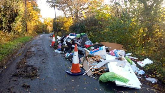 Fly-tipping along Bulls Lane, Sunday, November 11, 2018  Image by North Mymms News, released under Creative Commons