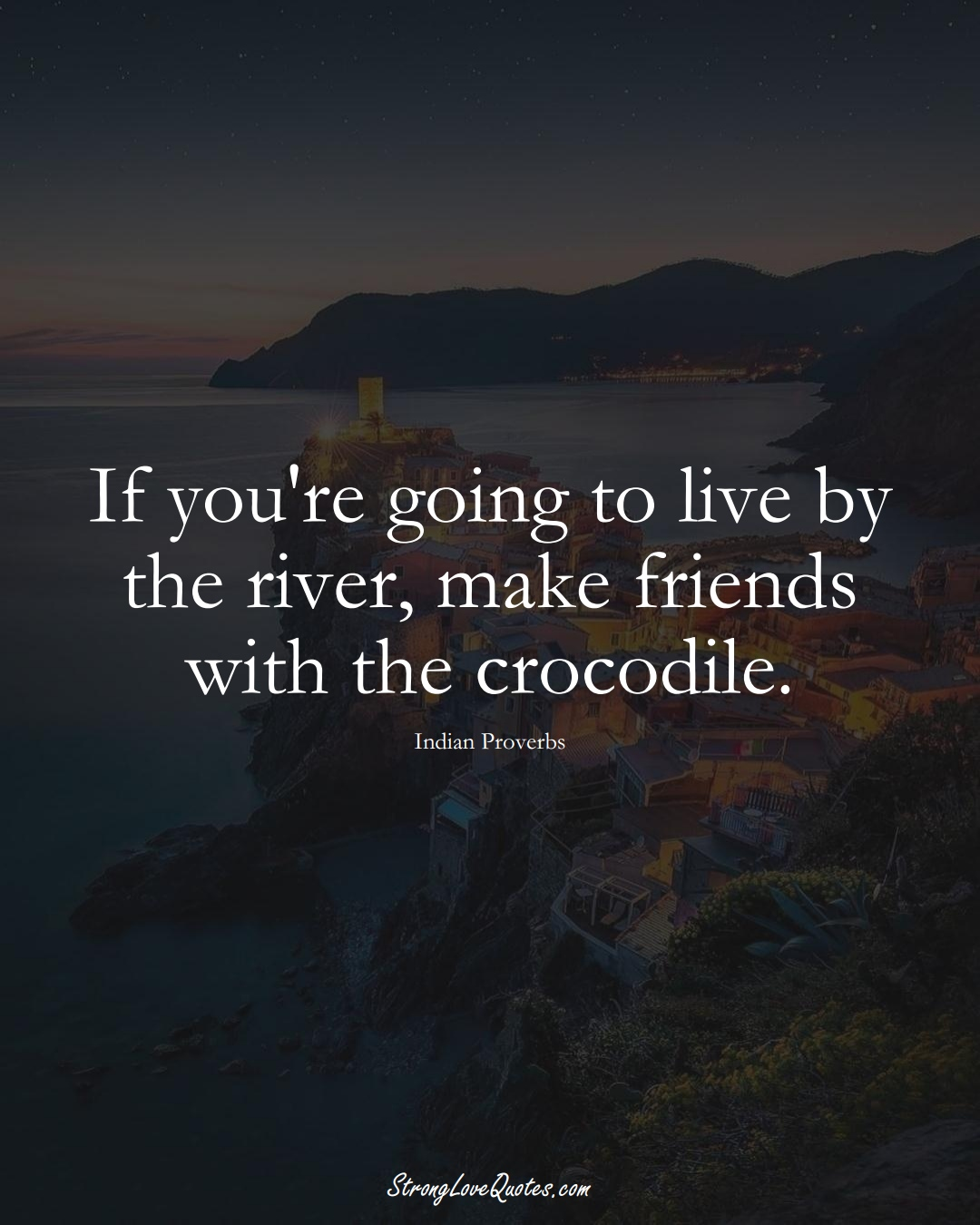If you're going to live by the river, make friends with the crocodile. (Indian Sayings);  #AsianSayings