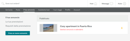 Modifica annuncia Airbnb