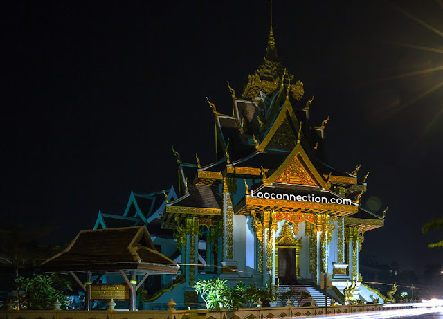 Vientiane City Pillar Shrine at night