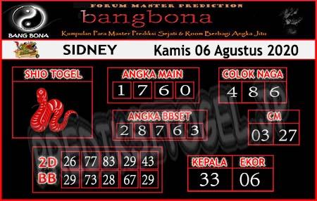 Prediksi Bangbona Sydney Kamis 06 Agustus 2020