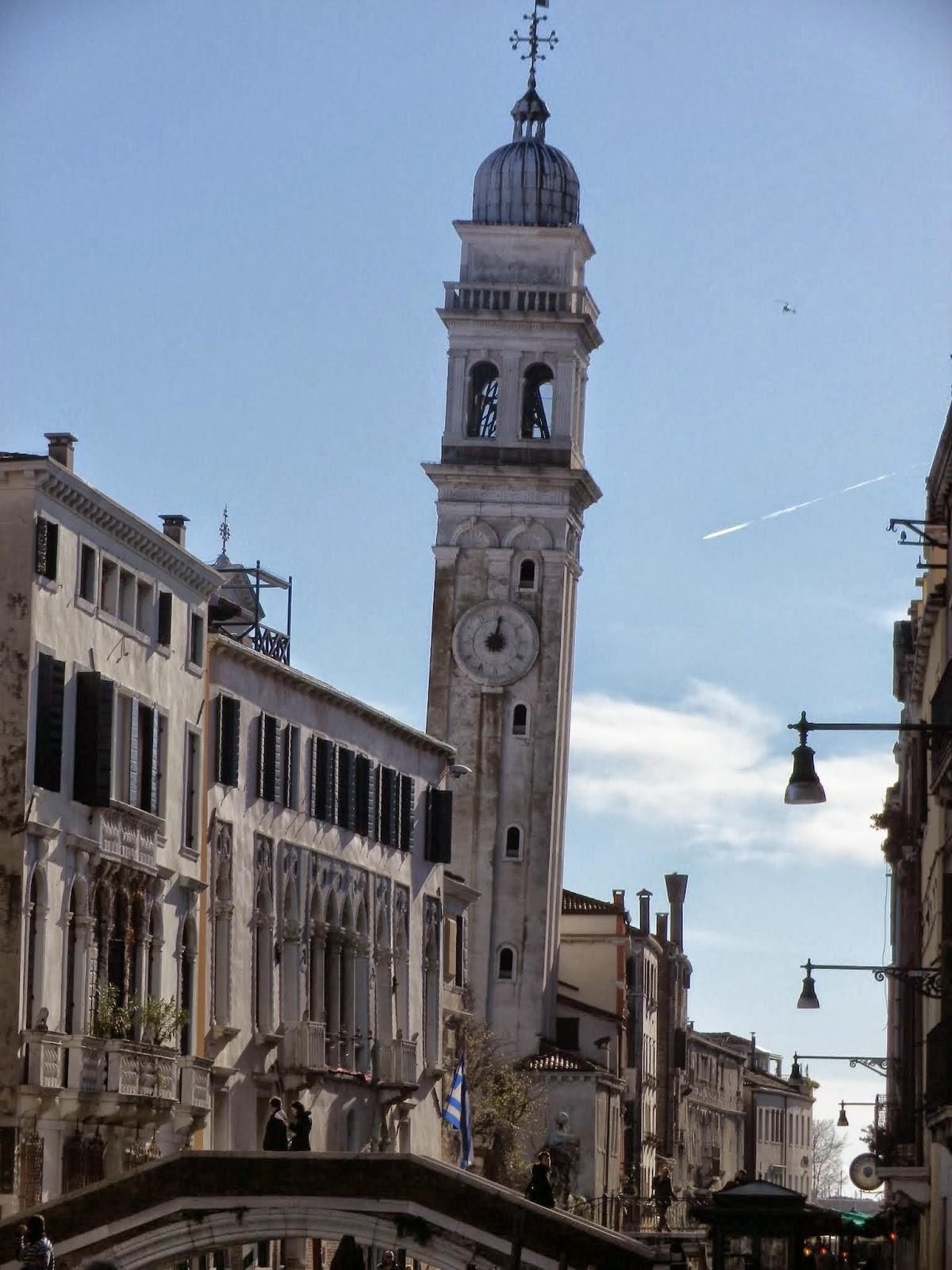 Leaning bell tower, or campanile pendente, San Giorgio dei Greci, Venice