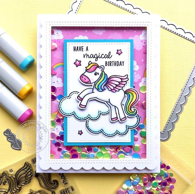 Sunny Studio Stamps: Prancing Pegasus Frilly Frame Dies Sunny Sentiments Birthday Shaker Card by Lynn Putt