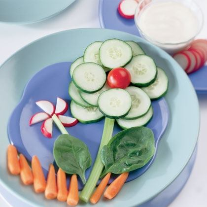 Vegetable Flowers with Homemade Ranch Dip Recipe
