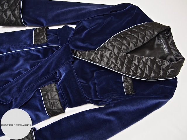 Mens quilted smoking jacket robe dressing gown