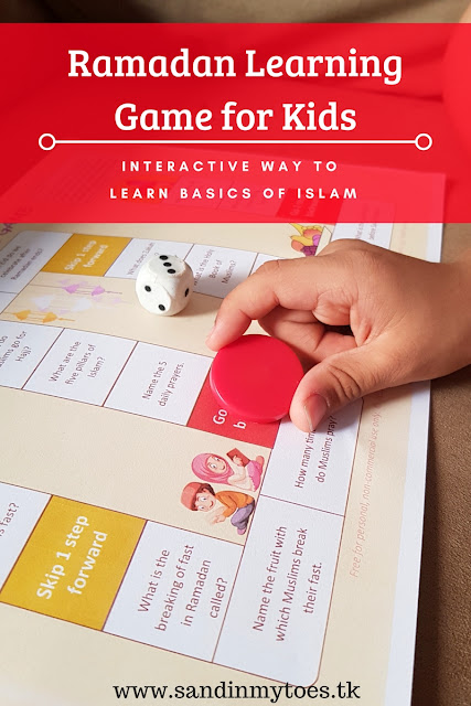 A free printable Ramadan theme board game for kids, so children can learn basics of Islam.