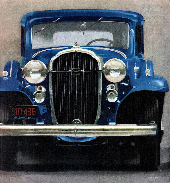 a 1932 Buick in blue, illustrated with front view