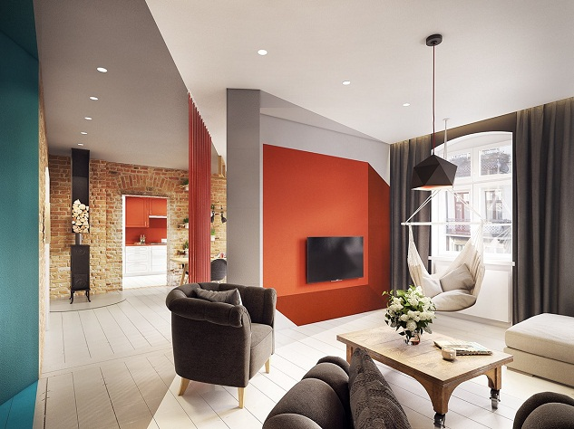 Orange Background With Geometric Grooves Create A 3D Effect Is Also Seen On  The LCD Screen Wall, A Hanging Sofa With Soft Cushions Make You More  Comfortable ...