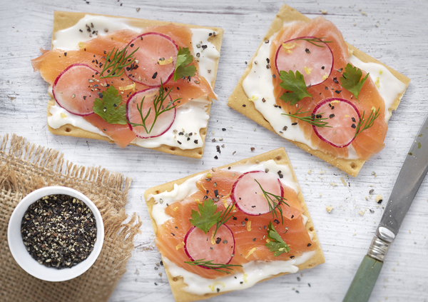Classy Salmon, Radish And Cheese Crackers