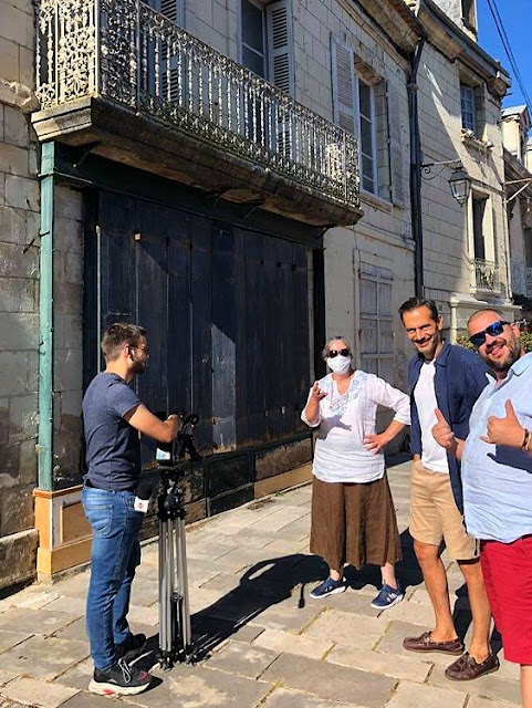 TV Tours interviewing the Lieutopie Preuilly team. Indre et Loire. France. Photo by Loire Valley Time Travel.