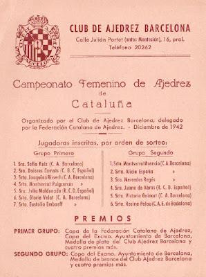 Lista de inscritas y premios a repartir en el V Campeonato Femenino de Ajedrez de Catalunya 1942