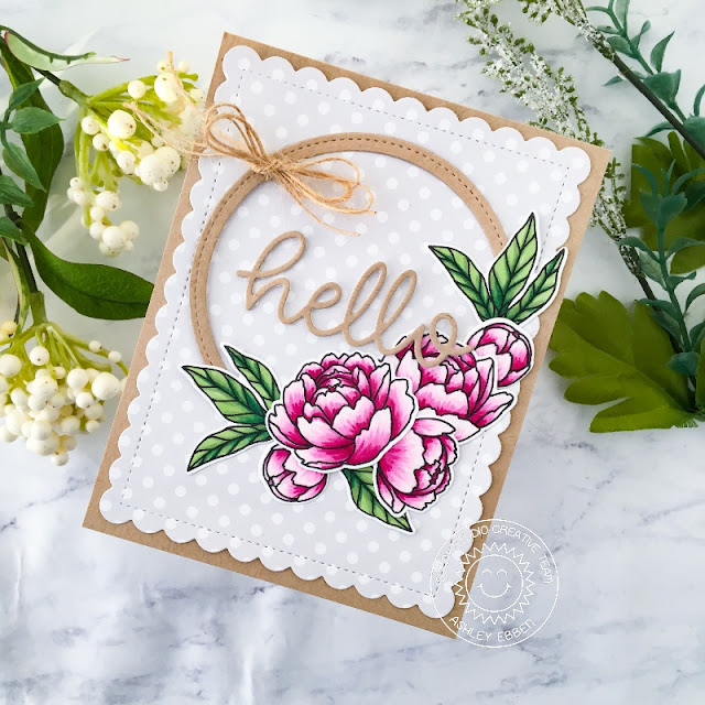 Sunny Studio Stamps: Stitched Circle Dies Pink Peonies Friendship Card by Ashley Ebben
