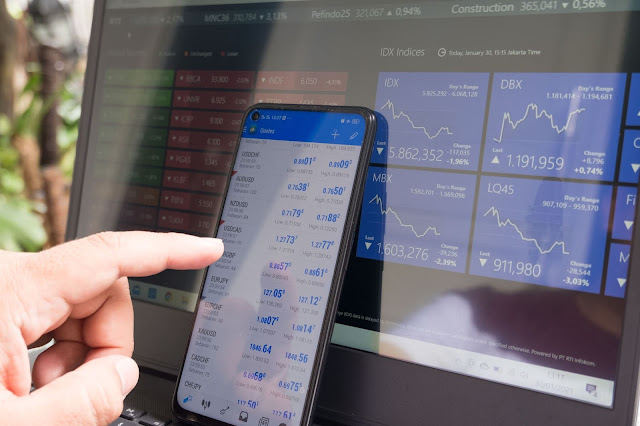 Forex trading on phone and laptop
