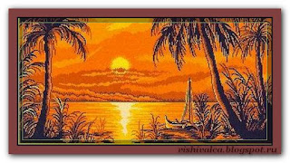 "Download embroidery scheme Rogoblen 6.09 ""Sunset on the River"""