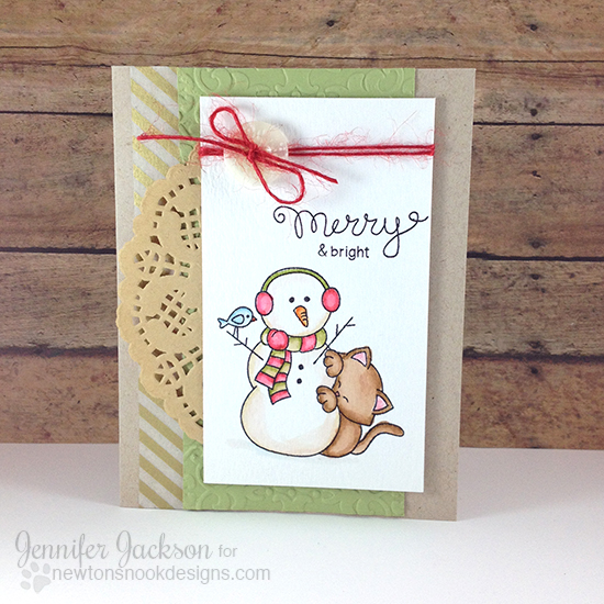 Cat & Snowman Christmas card by Jennifer Jackson | Newton's Curious Christmas Stamp Set by Newton's Nook Designs