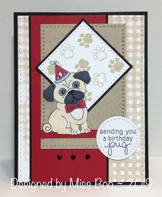Sending you a birthday pug by Miss Boo features Pug Hugs by Newton's Nook Designs; #newtonsnook