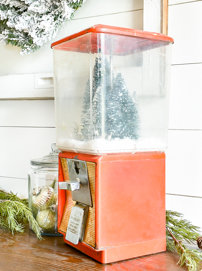 Vintage gumball machine turned snow globe