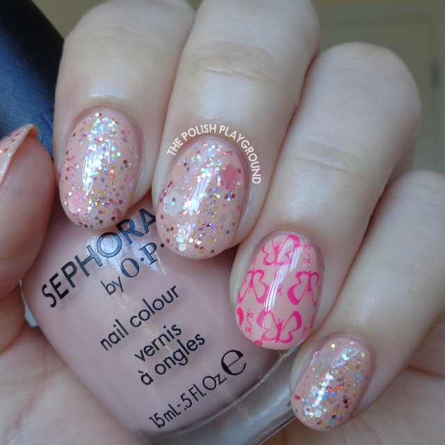 Pink Glitter Layering with Butterfly Stamping Accent Nail Art