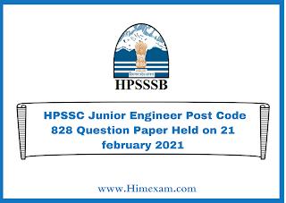 HPSSC Junior Engineer Post Code 828 Question Paper Held on 21 february 2021
