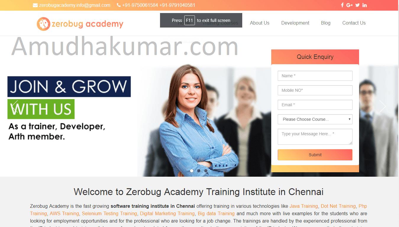 ZeroBug Academy Digital Marketing Training in Chennai - Amudhakumar