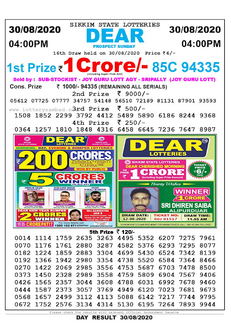 Sikkim State Lottery Sambad 30-08-2020 Today Result 4 PM