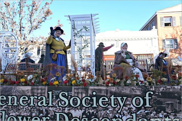 Carroza de los Descendientes del Mayflower en el Desfile de Acción de Gracias de Plymouth