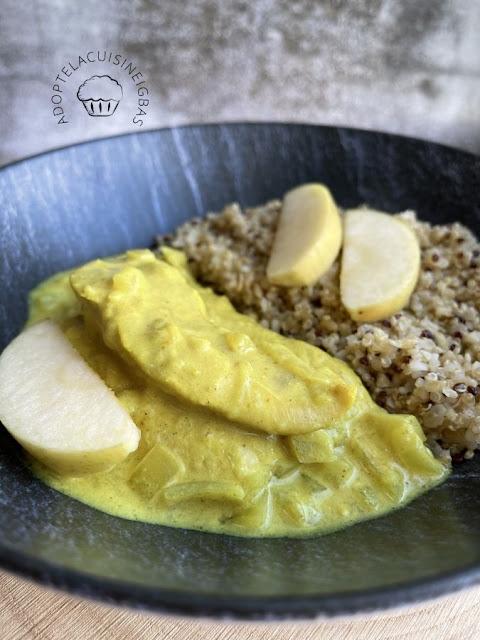 Aiguillettes de poulet à la pomme et au curry  - IG bas