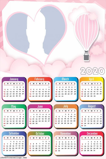 Pink Air Balloon: Free Printable 2020 Calendar.