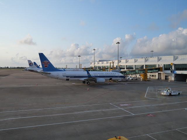 China Southern Airlines airplane at gate at Zhuhai Airport