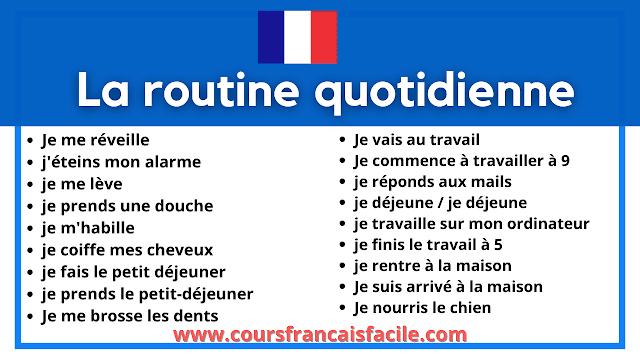 Apprendre le français : la routine quotidienne
