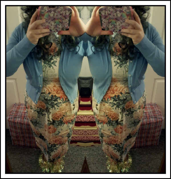 wearing asos floral wiggle dress, hell bunny noelle cardigan, tinsel shoes