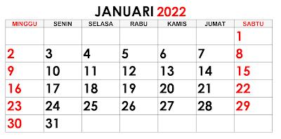 Hari Besar dan Hari Libur Nasional di Bulan Januari Tahun 2022