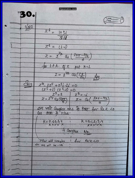 IITJEE Competition Notes On Complex Number 6