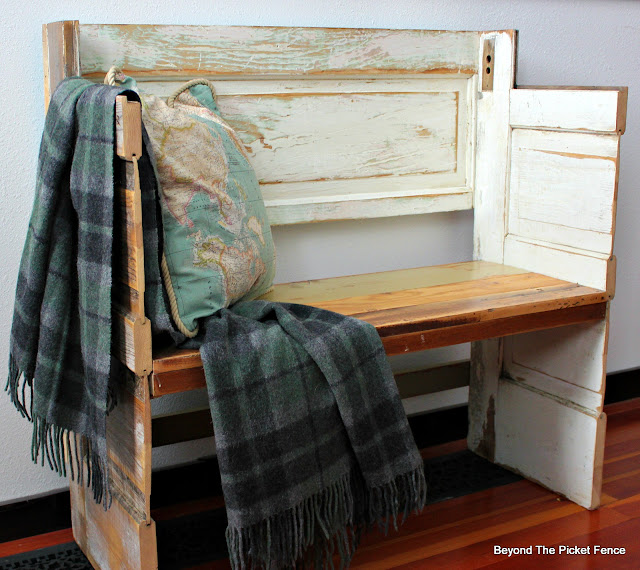 old door bench, build it, reclaimed wood, salvaged, chippy paint, minwax, plaid blanket, wool blanket, http://bec4-beyondthepicketfence.blogspot.com/2016/02/a-door-able-bench.html
