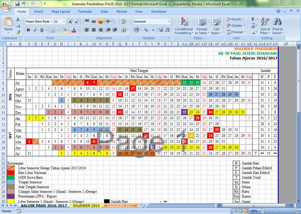 Contoh Kalender Pendidikan PAUD 2016-2017 Format Microsoft Excel