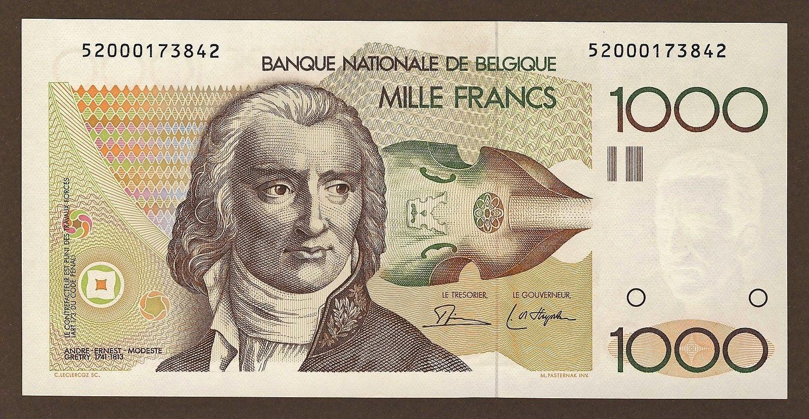 Belgium Banknotes 1000 Francs banknote 1980 composer Andre Gretry
