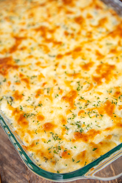 cheesy rice casserole in baking dish