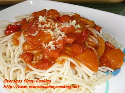 Pinoy Pineapple Fiesta Ham Spaghetti