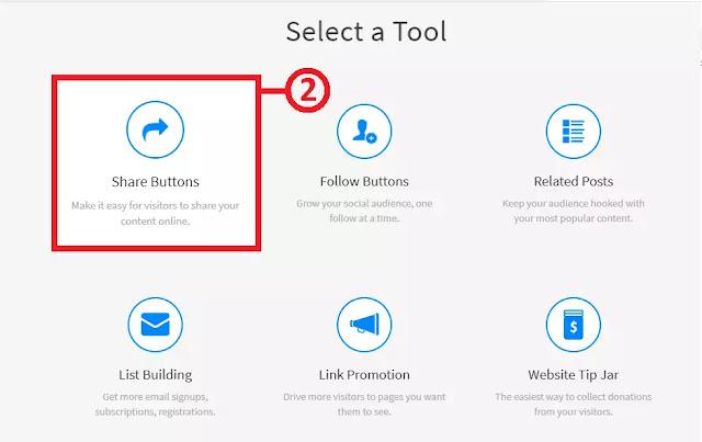 AddThis Select tool Option