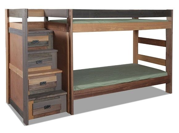 Step up the style with our handsome Morgan Creek Extra Long Twin over Twin Stairway Bunk Bed. The stairs can be positioned on either side of the bed and they feature 4 storage