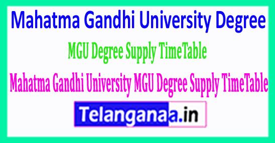 Mahatma Gandhi University MGU Degree Supply TimeTable 2018