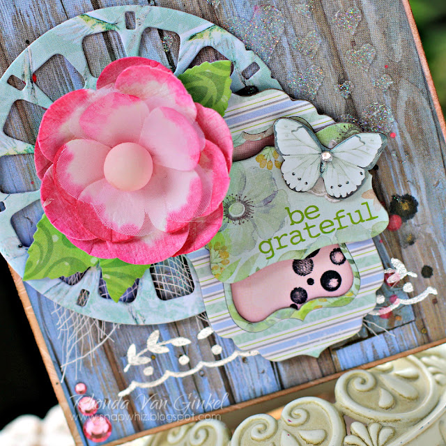 Be Grateful Card featuring Butterfly Kisses and Blossoms by BoBunny designed by Rhonda Van Ginkel