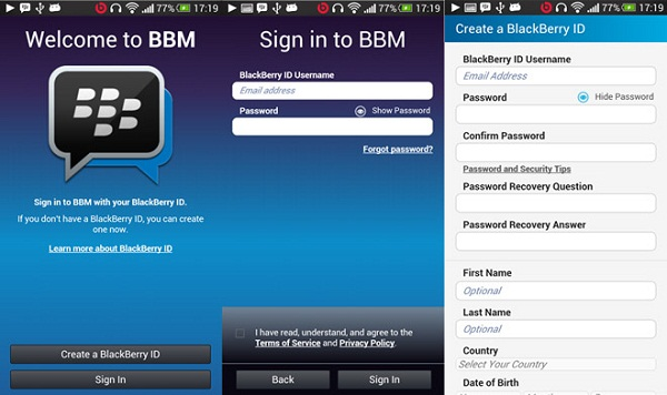 URGENT scheduled arrival # BBM application on the Android platform #