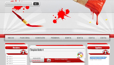 Template Editavel Red White Blogger
