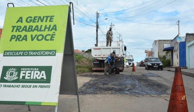 Chuva dá trégua e Prefeitura intensifica recuperação de vias públicas