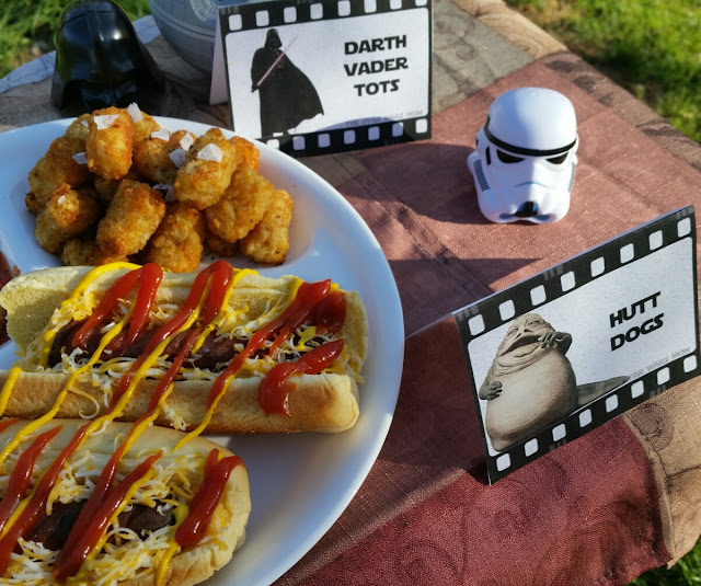 Hutt Dogs (Hot Dogs) and Darth Vader Tots (Tater Tots) Star Wars Party Food